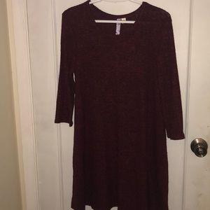 Thin maroon sweater dress